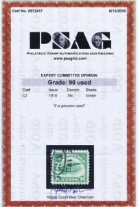 SCOTT# C2 USED 16 CENT AIR MAIL CURTISS JENNY,  1918, PSAG CERT, GRADED 90!