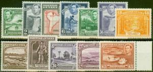 British Guiana 1938-45 set of 12 SG308a-319 V.F Very Lightly Mtd Mint $3 MNH