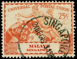 SINGAPORE SG35, 25c orange, FINE USED.