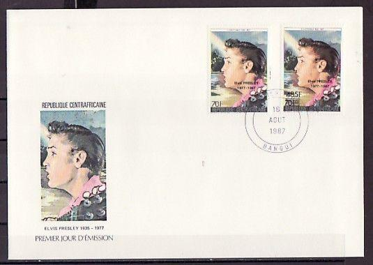 Central Africa, Scott cat. 851 A-B. Elvis Presley o/p issue. First day cover.