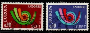 Andorra (Fr) Sc 219-20 1973 Europa stamp set used