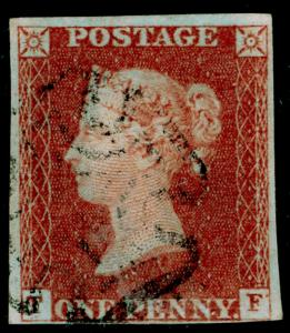 SG8, 1d red-brown PLATE 30, USED. Cat £120. BLACK MX. TF