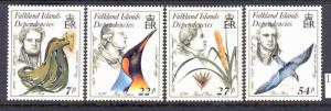 FALKLAND ISLANDS 1L97-100 MNH NATURALISTS DEPENDENCIES 1985