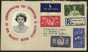 wc043 Great Britain Coronation Queen Elizabeth complete set registered FDC cover