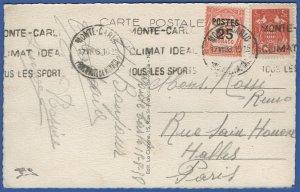 S354 -  MONACO 1938 used ppc MONTE CARLO to Paris FRANCE, Sports