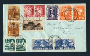 SOUTH AFRICA 1942 War Effort Part Set on Cover PRETORIA Local Post