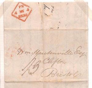 F84 1830 GB IRELAND Dublin Irish Sea Mail Cover Bristol BANKING LETTER £42 Bill
