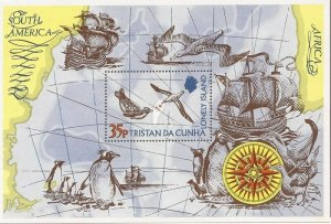Tristan da Cunha - 1974 Map, Penguin and Sea Gull - Souvenir Sheet - Scott #195