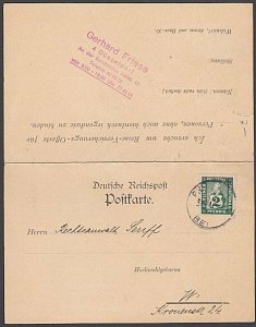 GERMANY BERLIN Private Post c1890s 2pf on postcard used with reply card.....B351