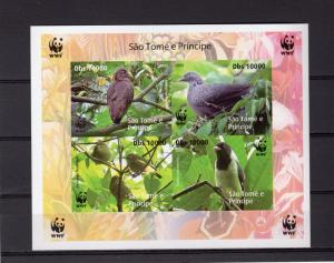 Sao Tome and Principe 2005 WWF/Birds S/S Imperforated Not Inscription Groth# U