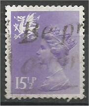 GREAT BRITAIN, WALES, Machins, 1982, used 151/2p light violet, Scott WMMH27