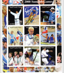 Kyrgyzstan 2000 SYDNEY OLYMPIC Games France Gold Medal Sheet Perforated Mint NH