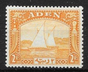 ADEN SG10 1937 2r YELLOW DHOW MTD MINT