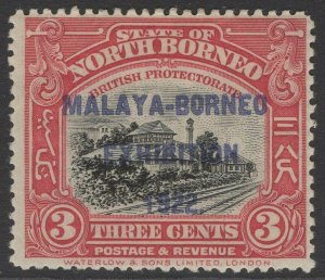 NORTH BORNEO SG256 1922 3c BLACK & ROSE-LAKE MNH
