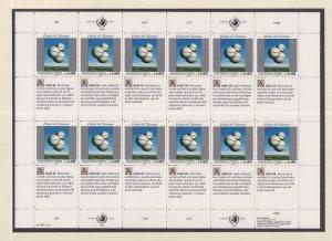 United Nations Geneva #235 MNH 1993 declaration 90c  Magritte  sheet of 12
