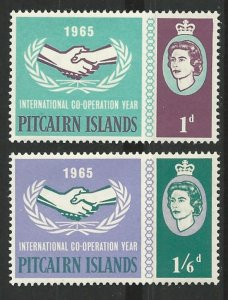 Pitcairn Island # 54-55  Intl Cooperation Year   (2) Mint NH