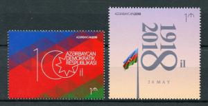 Azerbaijan 2018 MNH Republic 100th Anniv 1v Set National Emblems Flags Stamps