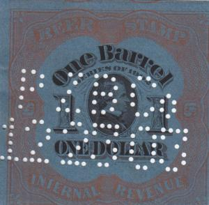Beer Tax Stamp, Sc #REA 80a, 1902, Dark Blue, Perfin Cancel (25071)