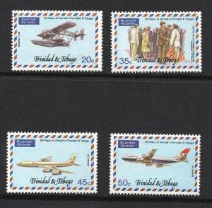 Trinidad & Tobago  (1977)  - Scott # 268 - 271,     Aviation