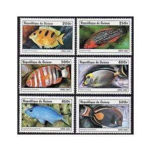 Guinea 1403-1408,1409 sheet,MNH. Fish 1997.
