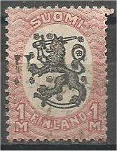 FINLAND, 1917, used 1m dull rose & blk, Helsinki Issue Scott 101