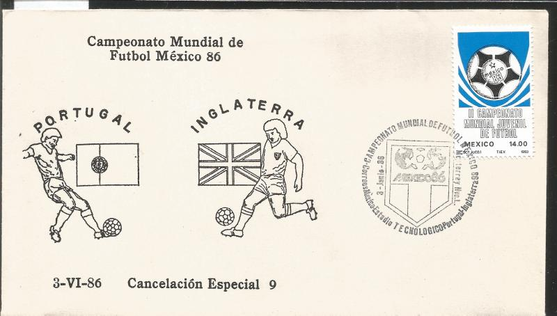 J) 1983 MEXICO, PORTUGAL-ENGLAND, BALL, SPECIAL CANCELLATION, II WORLD YOUTH FOO