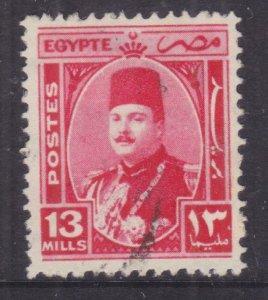 EGYPT, 1944 King Farouk, 13m. Carmine, used.