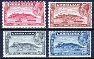 GIBRALTAR — SCOTT 96-99 (SG 110-113) —1931-33 KGV PICTORIAL SET —MH — SCV $21.75