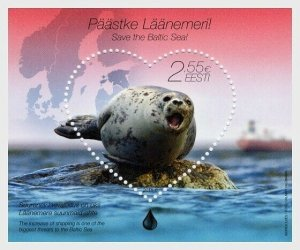 2015  ESTONIA  - SG: MS764 - GREY SEAL -   UNMOUNTED MINT - HEART SHAPED STAMP