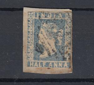 India QV 1854 1/2 Anna Imperf Used SG5 J5836