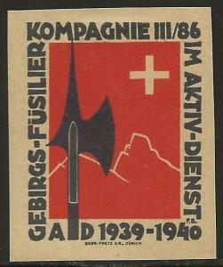 Switzerland 1939-45 WWII Feldpost Soldier INFANTRY Local Vignettes F/VF-HR