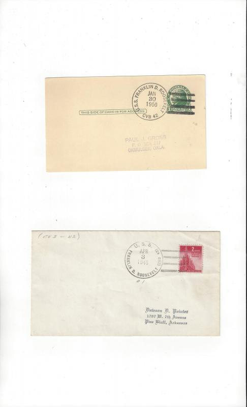 US Navy Covers USS Franklin D. Roosevelt CVB 42