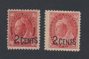 2x Canada Provisional  Stamps #87-ML F+ #88-Numeral F/VF Guide Value = $50.00