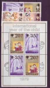 Netherlands Antilles stamp International year of children set + block WS20958