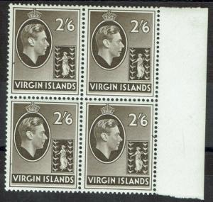 BRITISH VIRGIN ISLANDS 1938 KGVI BADGE 2/6 MNH ** BLOCK