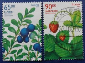 Iceland Berries Stamp Set Scott # 1054-5 Used (I897)