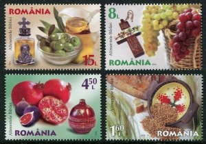 HERRICKSTAMP NEW ISSUES ROMANIA Sc.# 5878-81 Live Healthy - Bible Foods