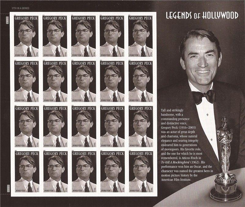 US Stamps 2011 Actor Gregory Peck Sheet of 20 Forever Stamps Scott #4526