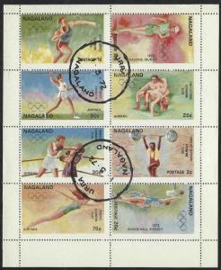 Nagaland: CTO (Used) Miniature Sheet of 8 1972 Olympics