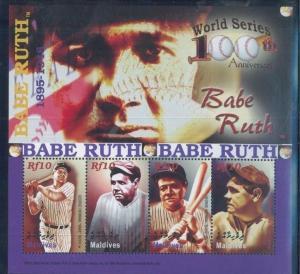 Baseball / World Series -BABE RUTH MIni Sheet of 4 MNH - Maldive Islands E21