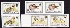 Uruguay Birds WWF Greater Rhea 3v imperf in pairs SG#2139-2142 MI#2021-2024