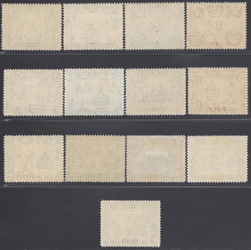 ADEN-1939-48 Sc#16-27a  ½a to 10/- set of 13 Mint VLH