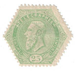 (I.B-CK) Belgium Telegraphs : 25c Yellow Green (1899)