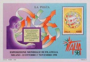 1998 Italia Esposizione di Filatelia Foglietto MNH** Annullo FDC al Verso 14805