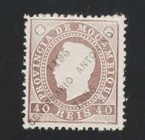 Mozambique Sc 40 NGAI. 1895 40r chocolate King Luiz w/ diagonal ovpt, fresh