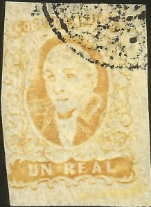 J) 1856 MEXICO, HIDALGO, UN REAL YELLOW, PLATE I, APAM NEGATIVE CANCELLATION, MN