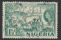 Nigeria  SG 71 SC# 82 Used  QEII 1953  Groundnuts please see scan