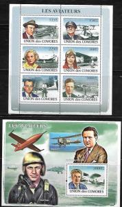 Comoro Islands 1047-48 Aviators and Aircraft Mint NH