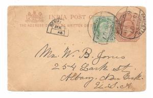 1907 India Ranipettai Uprated Horseshoe DUE to US KEVII Postal Stationery Card