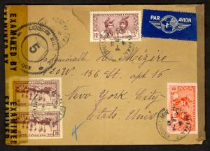MARTINIQUE 1944 FLOWN DOUBLE CENSORED Cover to USA 4 Stamps